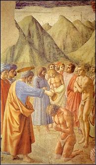 Masaccio - San Pedro bautizando